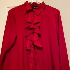 Karl Lagerfeld Ruffle Button-Up Blouse-Red